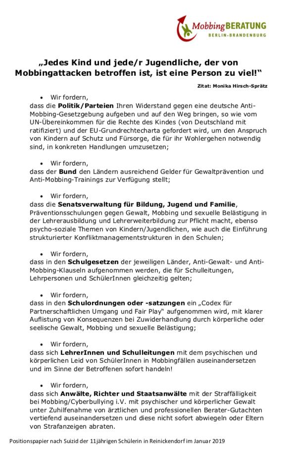 Positionspapier nach Suizid der Berliner Schülerin