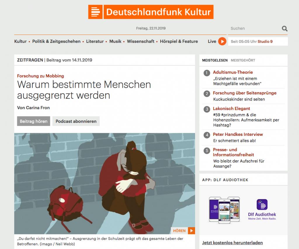Deutschlandfunk Kultur_ Forschung zu Mobbing